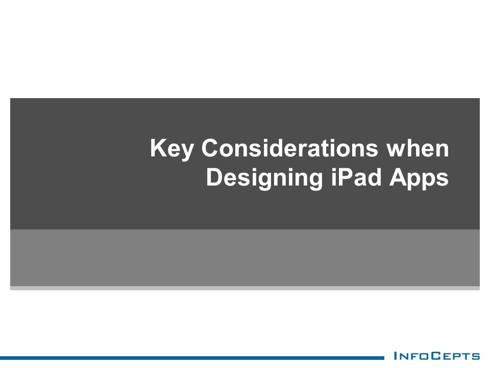 Key Considerations when Designing iPad Apps