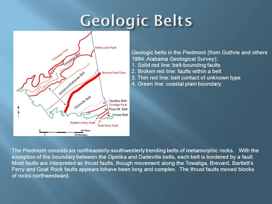 Geologic belts in the Piedmont (from Guthrie and others 1994: Alabama Geological Survey): 1.