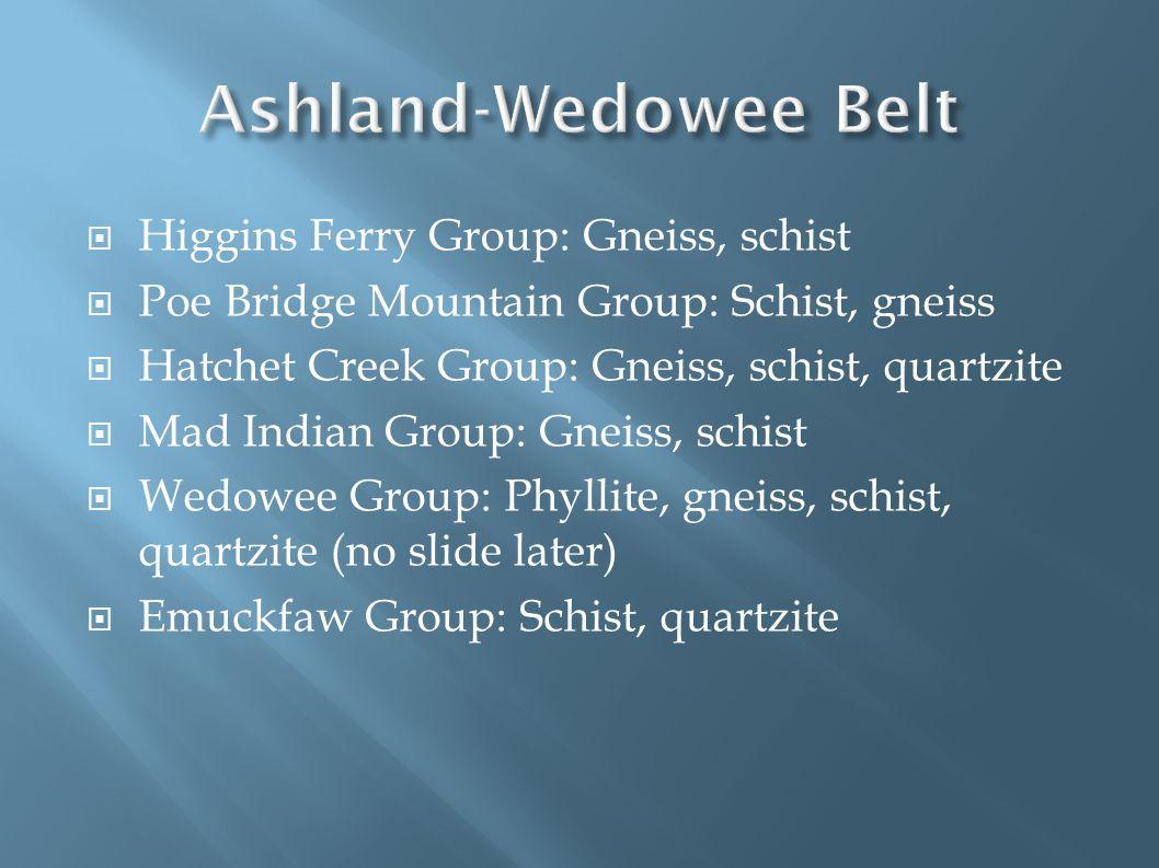  Higgins Ferry Group: Gneiss, schist  Poe Bridge Mountain Group: Schist, gneiss  Hatchet Creek Group: Gneiss, schist, quartzite  Mad Indian Group: Gneiss, schist  Wedowee Group: Phyllite, gneiss, schist, quartzite (no slide later)  Emuckfaw Group: Schist, quartzite