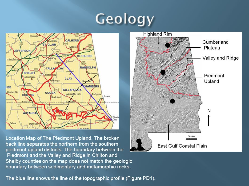Location Map of The Piedmont Upland. The broken back line separates the northern from the southern piedmont upland districts. The boundary between the
