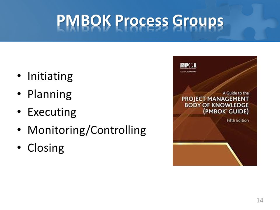 Initiating Planning Executing Monitoring/Controlling Closing 14