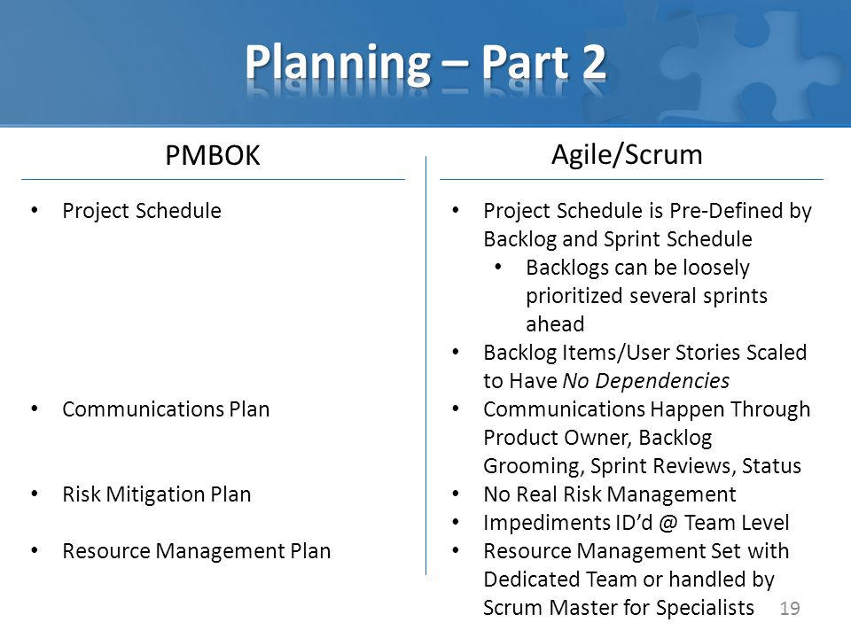 PMBOK 19 Agile/Scrum Project Schedule Communications Plan Risk Mitigation Plan Resource Management Plan Project Schedule is Pre-Defined by Backlog and Sprint Schedule Backlogs can be loosely prioritized several sprints ahead Backlog Items/User Stories Scaled to Have No Dependencies Communications Happen Through Product Owner, Backlog Grooming, Sprint Reviews, Status No Real Risk Management Impediments ID'd @ Team Level Resource Management Set with Dedicated Team or handled by Scrum Master for Specialists