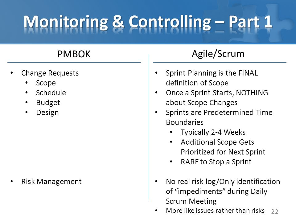 PMBOK 22 Agile/Scrum Change Requests Scope Schedule Budget Design Risk Management Sprint Planning is the FINAL definition of Scope Once a Sprint Starts, NOTHING about Scope Changes Sprints are Predetermined Time Boundaries Typically 2-4 Weeks Additional Scope Gets Prioritized for Next Sprint RARE to Stop a Sprint No real risk log/Only identification of impediments during Daily Scrum Meeting More like issues rather than risks