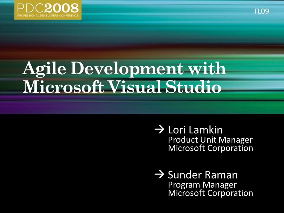  Lori Lamkin Product Unit Manager Microsoft Corporation  Sunder Raman Program Manager Microsoft Corporation TL09