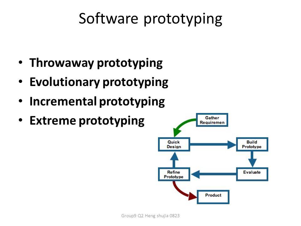 Software prototyping Throwaway prototyping Evolutionary prototyping Incremental prototyping Extreme prototyping Group9 Q2 Heng shujia 0823