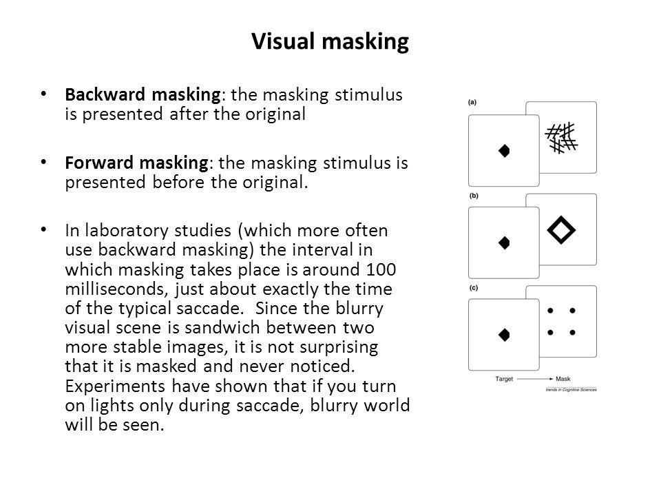 Visual masking Backward masking: the masking stimulus is presented after the original Forward masking: the masking stimulus is presented before the original.