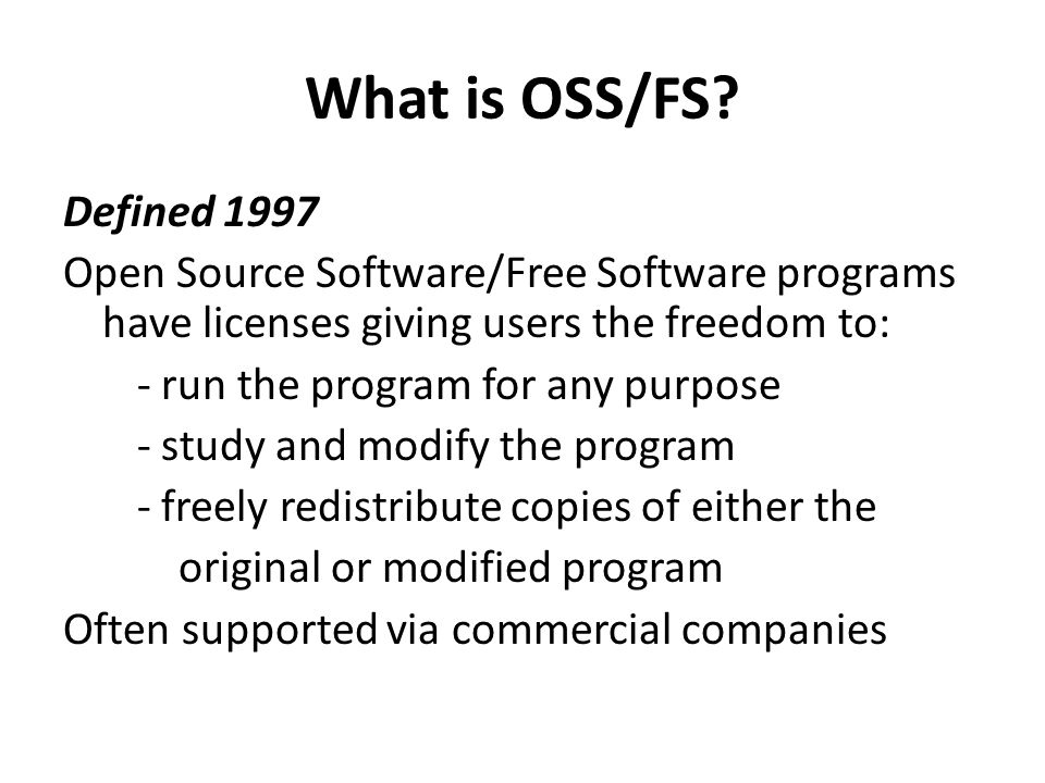 What is OSS/FS.