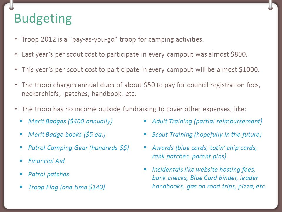 2013-2014 Per Scout Campout Cost WhenWhat/WhereHow Much September 2013Webelos-O-Ree/Snyder$10 October 2013 Wilderness Survival/Greenville Farms $20 November 2013Battleship/Norfolk$80 December 2013Cabins/High Roads$37.50 January 2014Cooking/High Roads Cabin$67 February 2014ILST/Rock Enon Cabin$25 March 2014New Scout/High Roads$35 (1 night) April 2014Camp-O-Ree$0 (canceled) May 2014Caving/Seneca Shadows$70 ($45 just hiking) June 2014Tubing/Skyline Ranch$70 Events: 10 – 1 canceled = 9Average Cost: $46.05Total: $414.50 2014 Summer Camp Cost = $363/scout and $145/adult