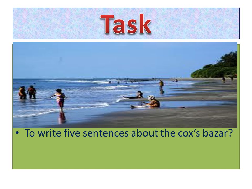To write five sentences about the cox's bazar?