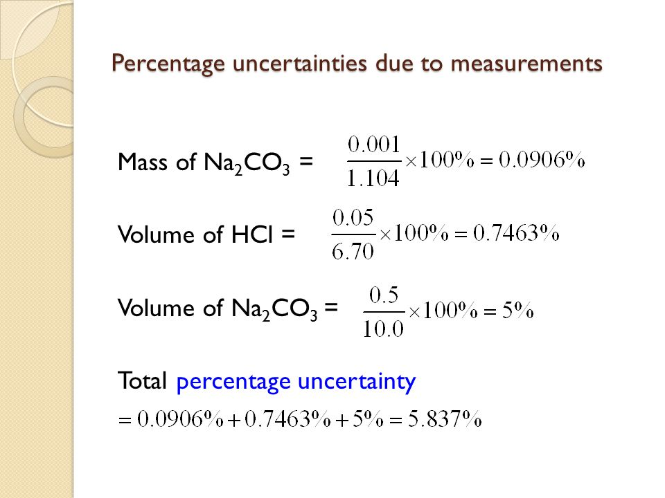 Percentage uncertainties due to measurements Mass of Na 2 CO 3 = Volume of HCl = Volume of Na 2 CO 3 = Total percentage uncertainty