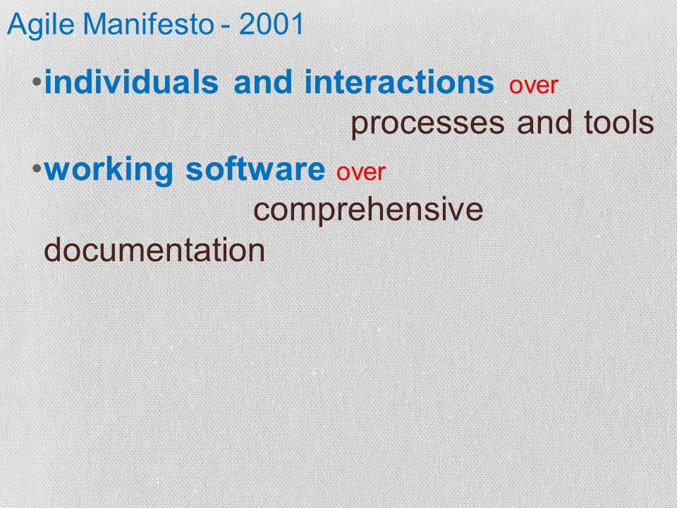 Agile Manifesto - 2001 individuals and interactions over processes and tools working software over comprehensive documentation
