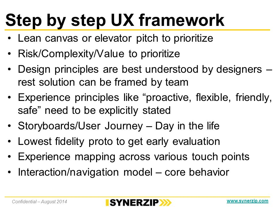 www.synerzip.com Step by step UX framework Takes 2-4 weeks before development Collaborate/empathize with users for problem/assumption validation Business goals – why are we doing this.