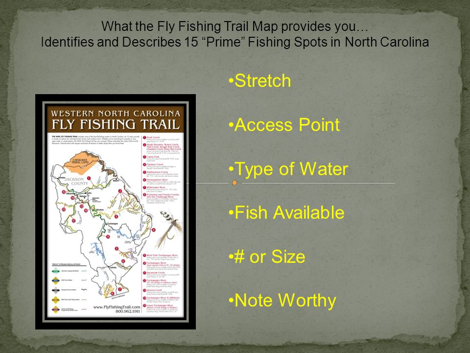 Stretch Access Point Type of Water Fish Available # or Size Note Worthy What the Fly Fishing Trail Map provides you… Identifies and Describes 15 Prime Fishing Spots in North Carolina