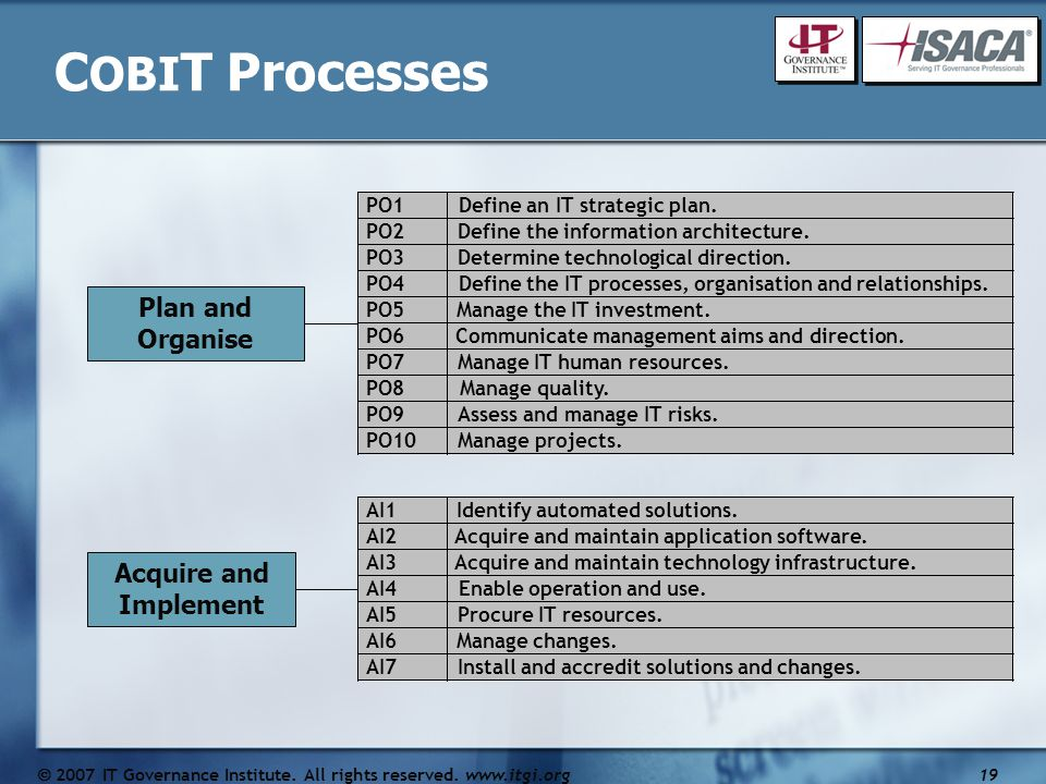 C OBI T Processes Plan and Organise Acquire and Implement PO1Define an IT strategic plan.