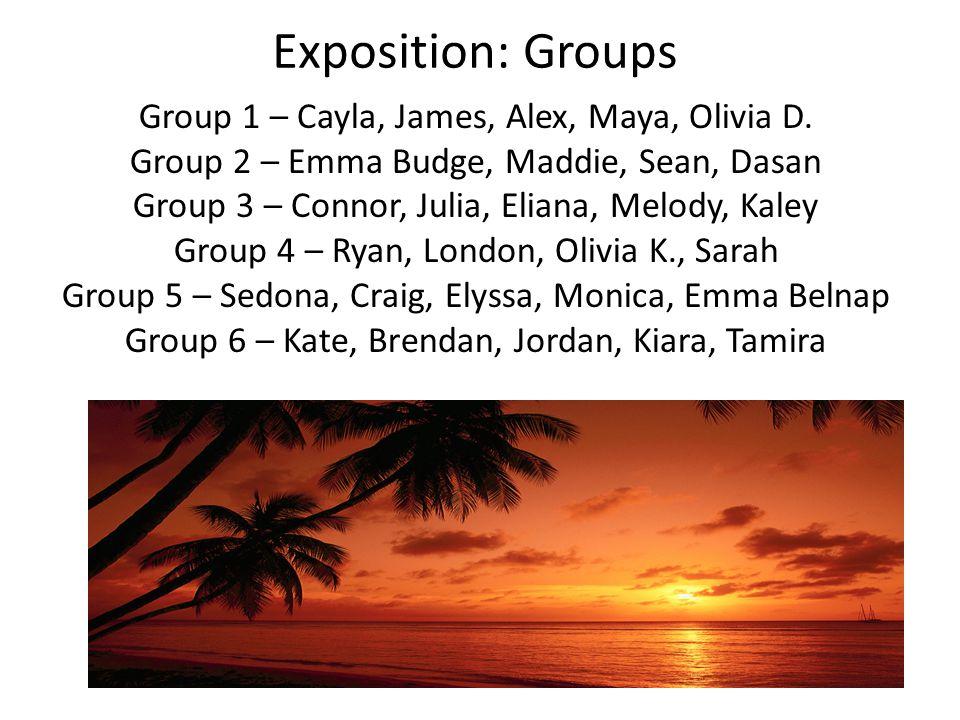 Exposition: Groups Group 1 – Cayla, James, Alex, Maya, Olivia D.