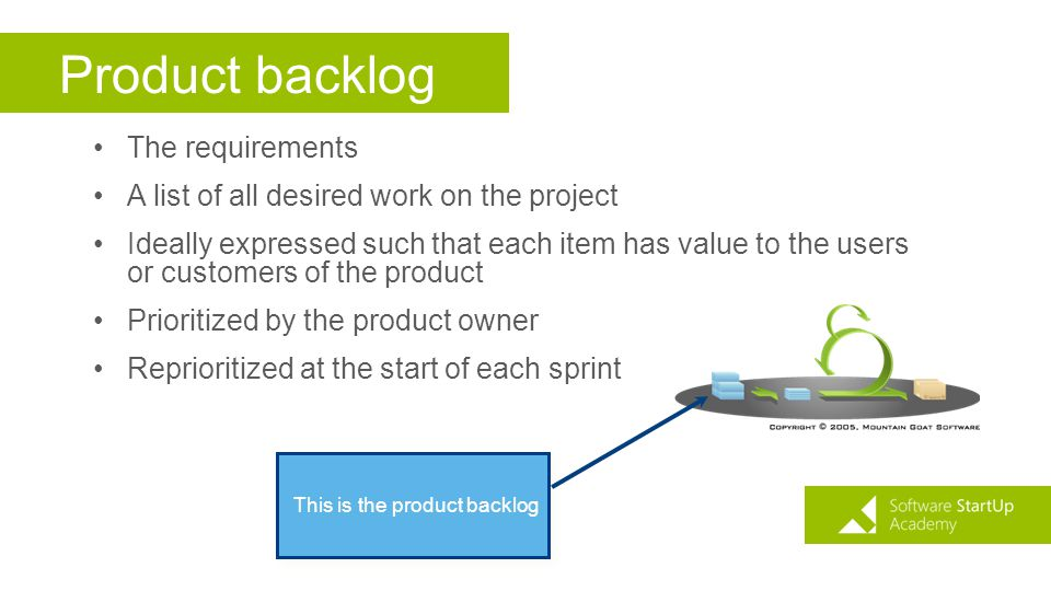Product backlog The requirements A list of all desired work on the project Ideally expressed such that each item has value to the users or customers o