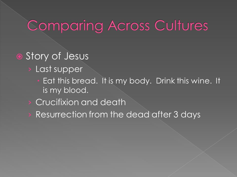  Story of Jesus › Last supper  Eat this bread. It is my body. Drink this wine. It is my blood. › Crucifixion and death › Resurrection from the dead
