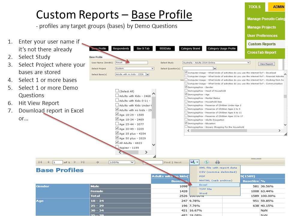 Custom Reports – Base Profile - profiles any target groups (bases) by Demo Questions 1.Enter your user name if it's not there already 2.Select Study 3