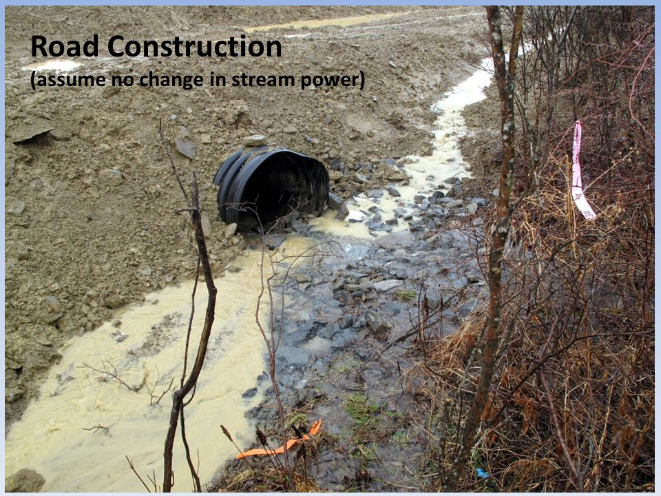 Aggradation Degradation Stream Power Stream Slope Flat Steep Sediment Load Sediment Size Coarse Fine Sediment Supply (Volume) Discharge Road construction > ↑ Sediment Supply >>> Aggradation Road Construction (assume no change in stream power)
