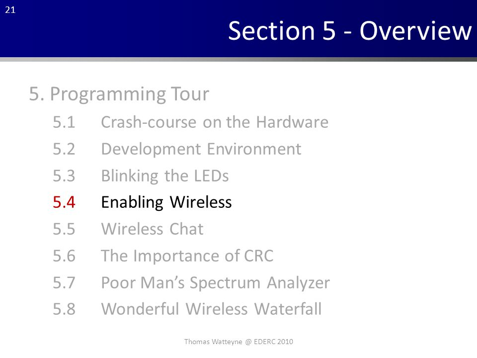 21 Section 5 - Overview 5.