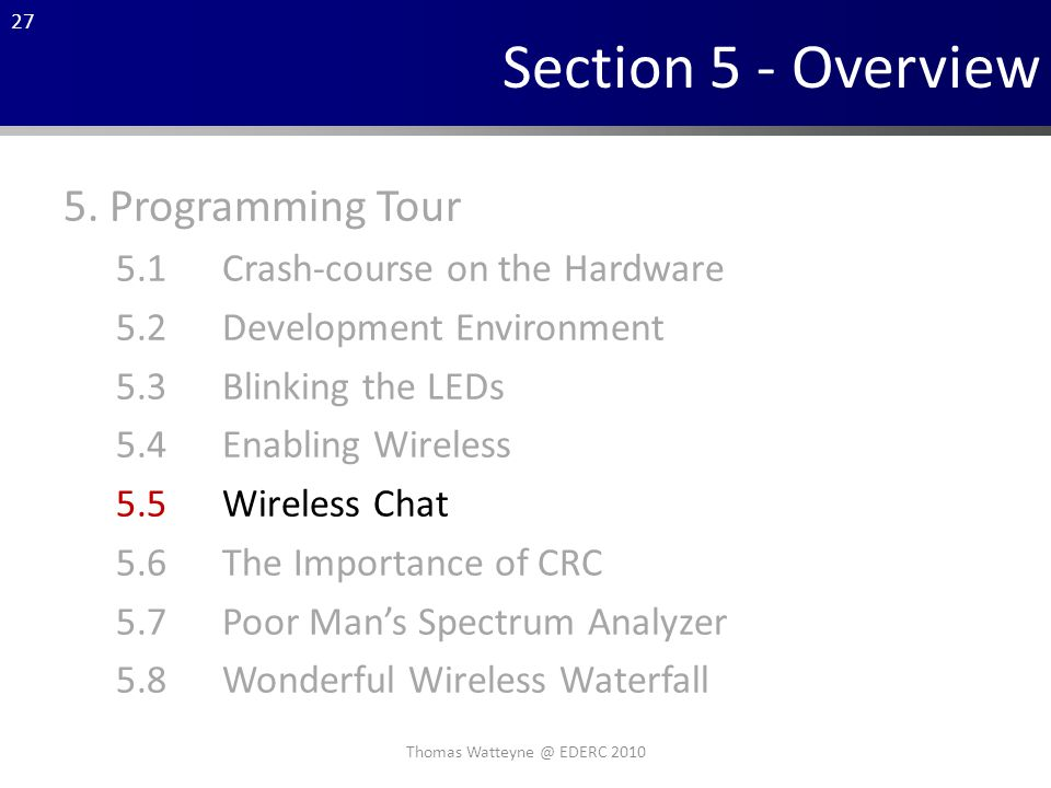 27 Section 5 - Overview 5.