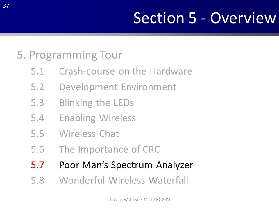 37 Section 5 - Overview 5.