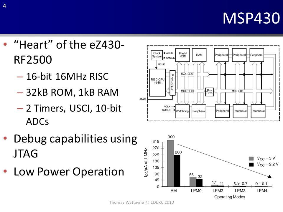 4 MSP430 Heart of the eZ430- RF2500 – 16-bit 16MHz RISC – 32kB ROM, 1kB RAM – 2 Timers, USCI, 10-bit ADCs Debug capabilities using JTAG Low Power Operation Thomas Watteyne @ EDERC 2010