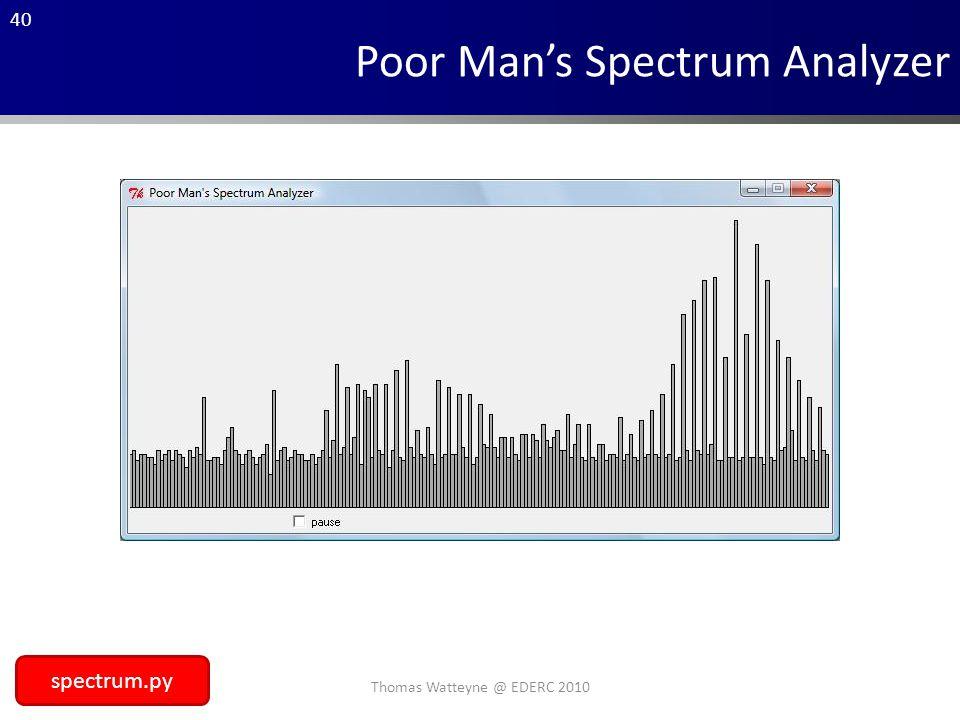 40 Poor Man's Spectrum Analyzer spectrum.py Thomas Watteyne @ EDERC 2010