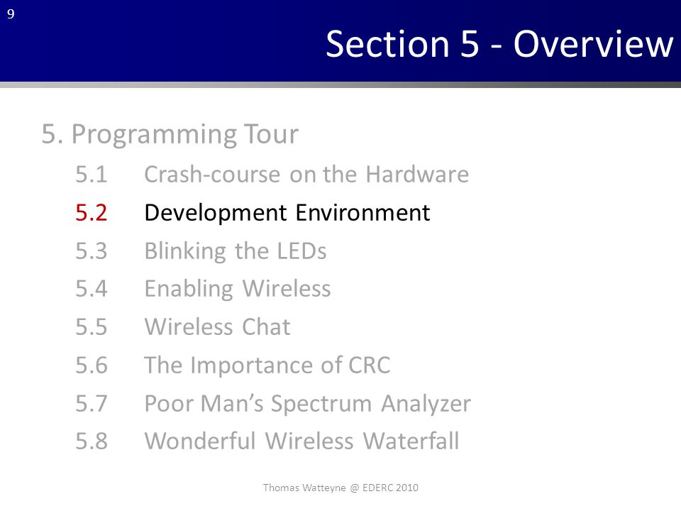 9 Section 5 - Overview 5.