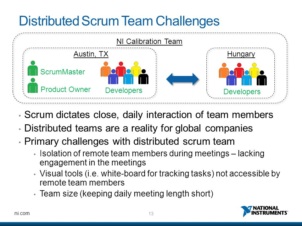 13 ni.com Distributed Scrum Team Challenges Scrum dictates close, daily interaction of team members Distributed teams are a reality for global companies Primary challenges with distributed scrum team Isolation of remote team members during meetings – lacking engagement in the meetings Visual tools (i.e.