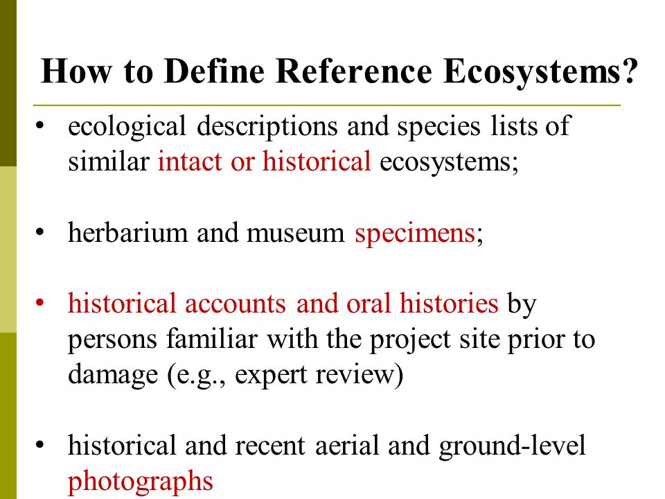 How to Define Reference Ecosystems.