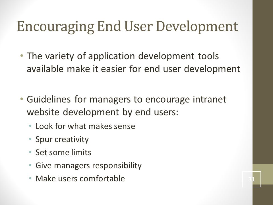 Encouraging End User Development The variety of application development tools available make it easier for end user development Guidelines for managers to encourage intranet website development by end users: Look for what makes sense Spur creativity Set some limits Give managers responsibility Make users comfortable 31