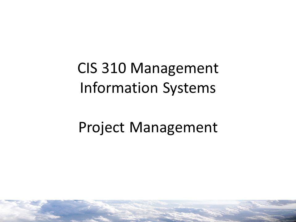 CIS 310 Management Information Systems Project Management