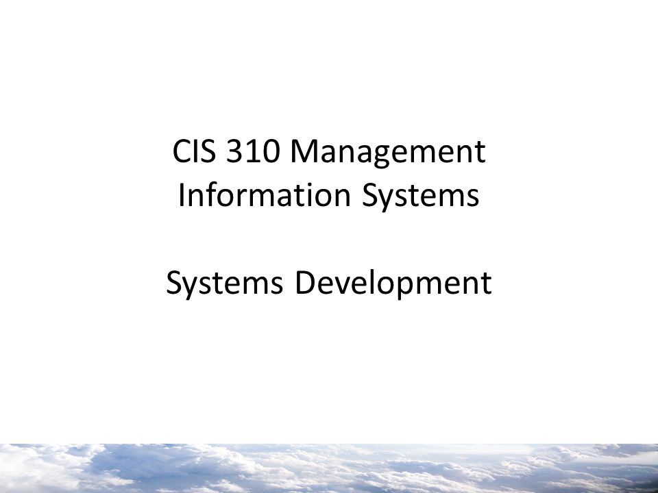 CIS 310 Management Information Systems Systems Development