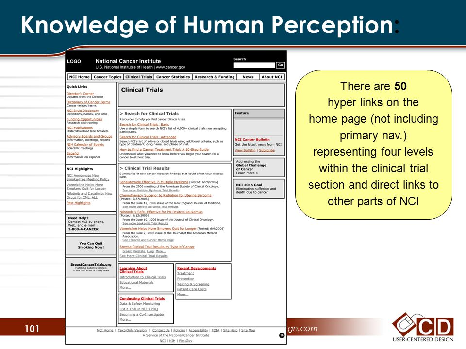 Knowledge of Human Perception: User-Centered Design  www.user-centereddesign.com 101 There are 50 hyper links on the home page (not including primary