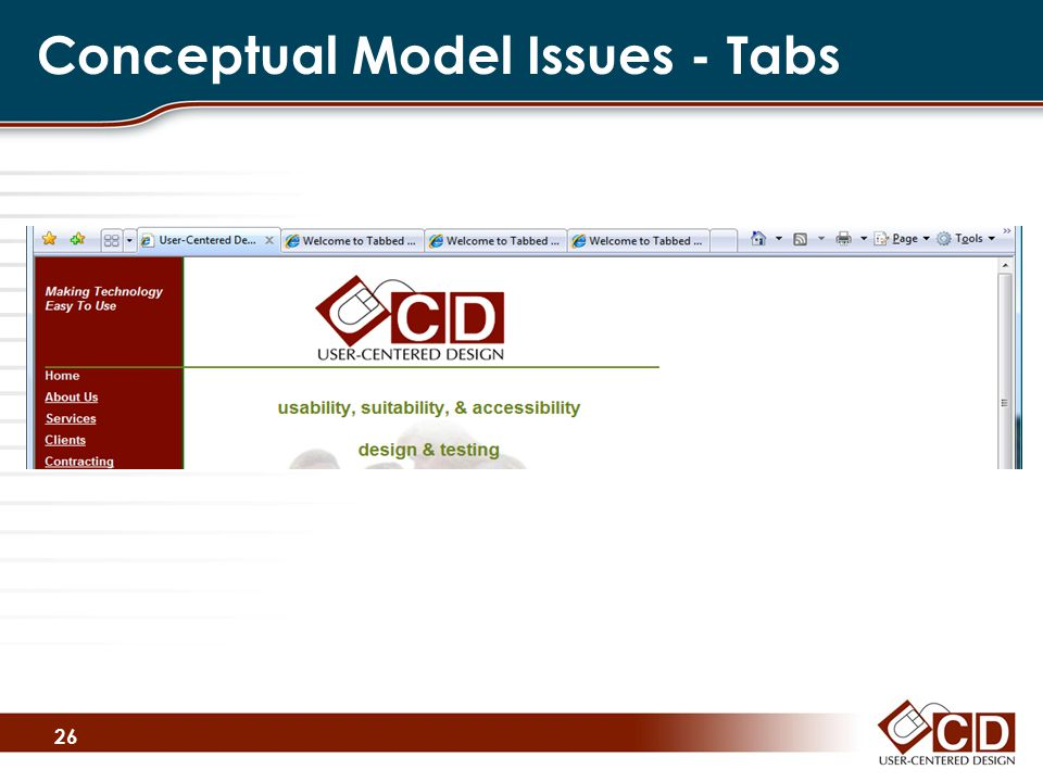 Conceptual Model Issues - Tabs 26