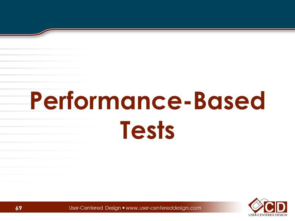 Performance-Based Tests User-Centered Design  www.user-centereddesign.com 69