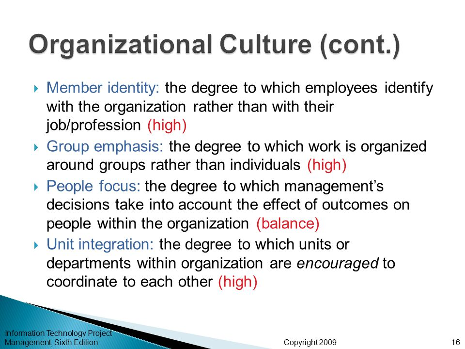Copyright 2009  Member identity: the degree to which employees identify with the organization rather than with their job/profession (high)  Group em
