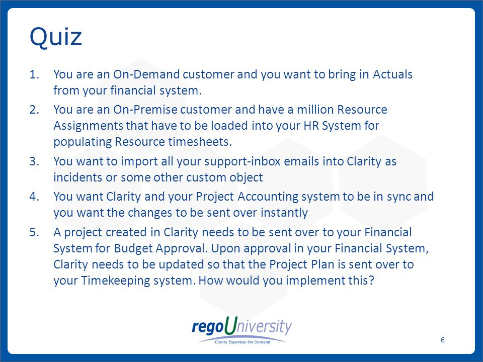 You are an On-Demand customer and you want to bring in Actuals from your financial system.