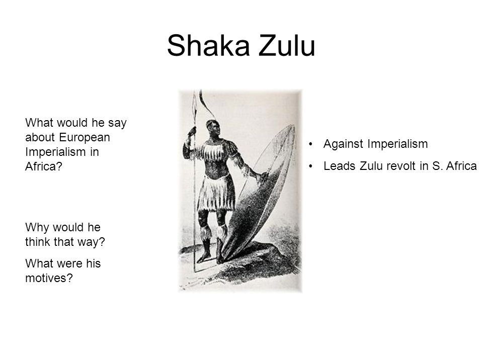 Shaka Zulu What would he say about European Imperialism in Africa.