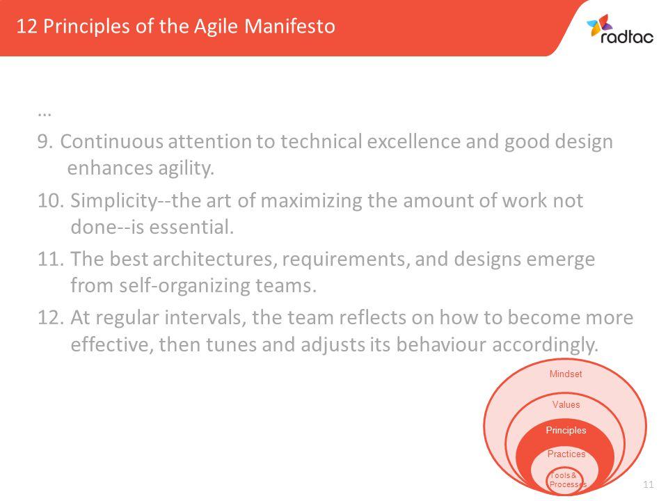 11 12 Principles of the Agile Manifesto … 9.