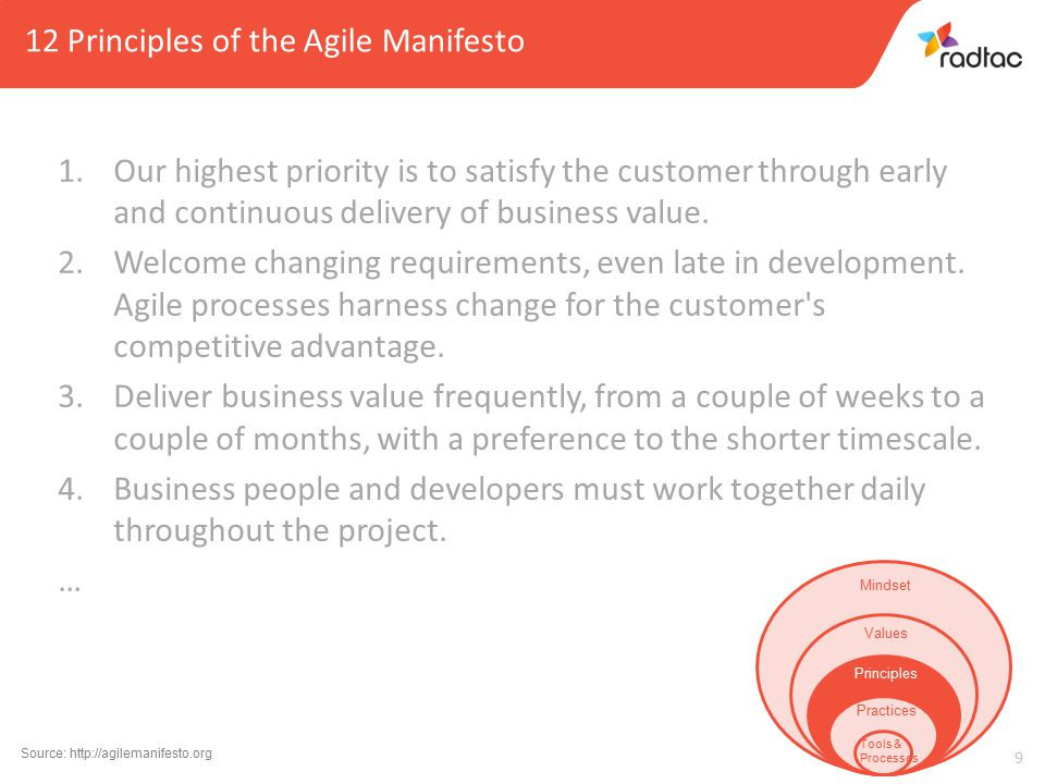 10 12 Principles of the Agile Manifesto … 5.Build projects around motivated individuals.