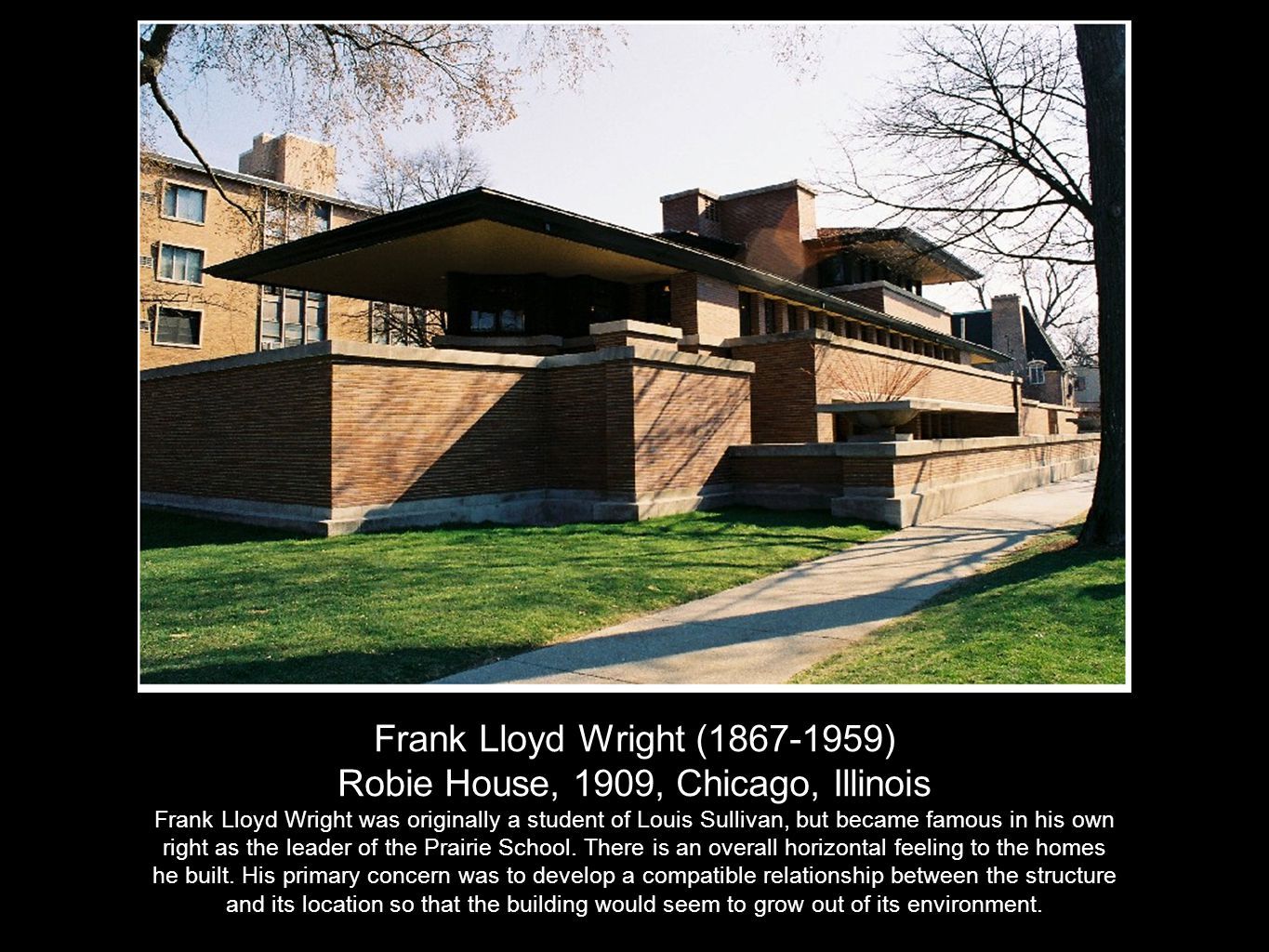 Frank Lloyd Wright (1867-1959) Kaufman House, 1936, Bear Run, Pennsylvania This famous house is known as Falling Water because it is built over a waterfall.