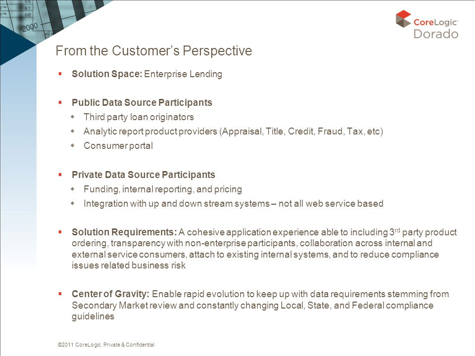 ©2011 CoreLogic. Private & Confidential From the Customer's Perspective  Solution Space: Enterprise Lending  Public Data Source Participants  Third