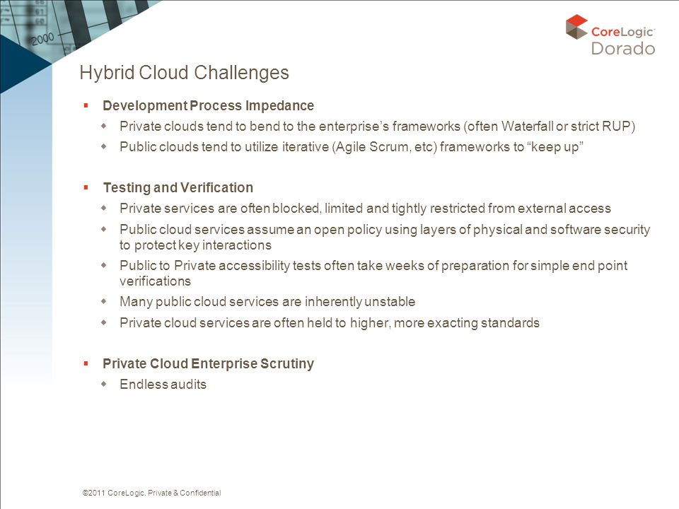 ©2011 CoreLogic. Private & Confidential Hybrid Cloud Challenges  Development Process Impedance  Private clouds tend to bend to the enterprise's fram