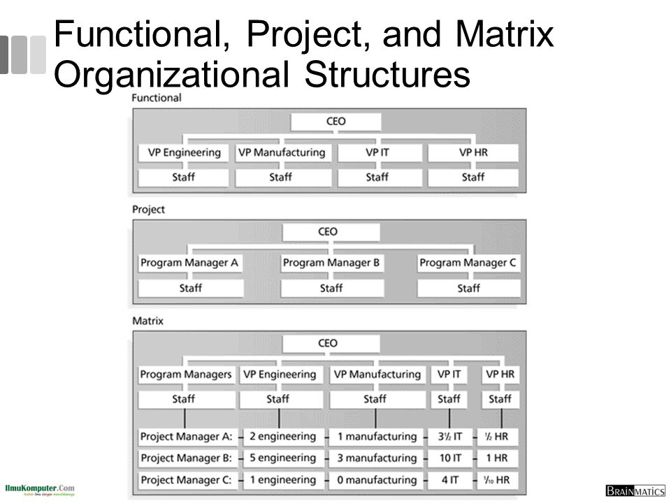 Functional, Project, and Matrix Organizational Structures 13