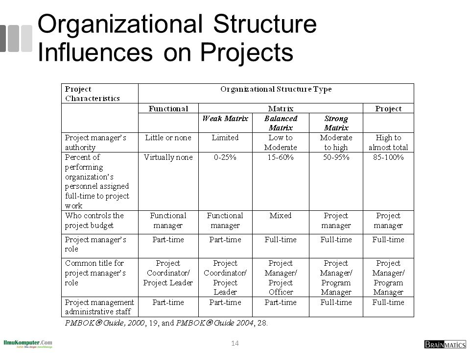 Organizational Structure Influences on Projects 14