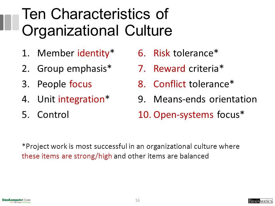 Ten Characteristics of Organizational Culture 1.Member identity* 2.Group emphasis* 3.People focus 4.Unit integration* 5.Control 6.Risk tolerance* 7.Re