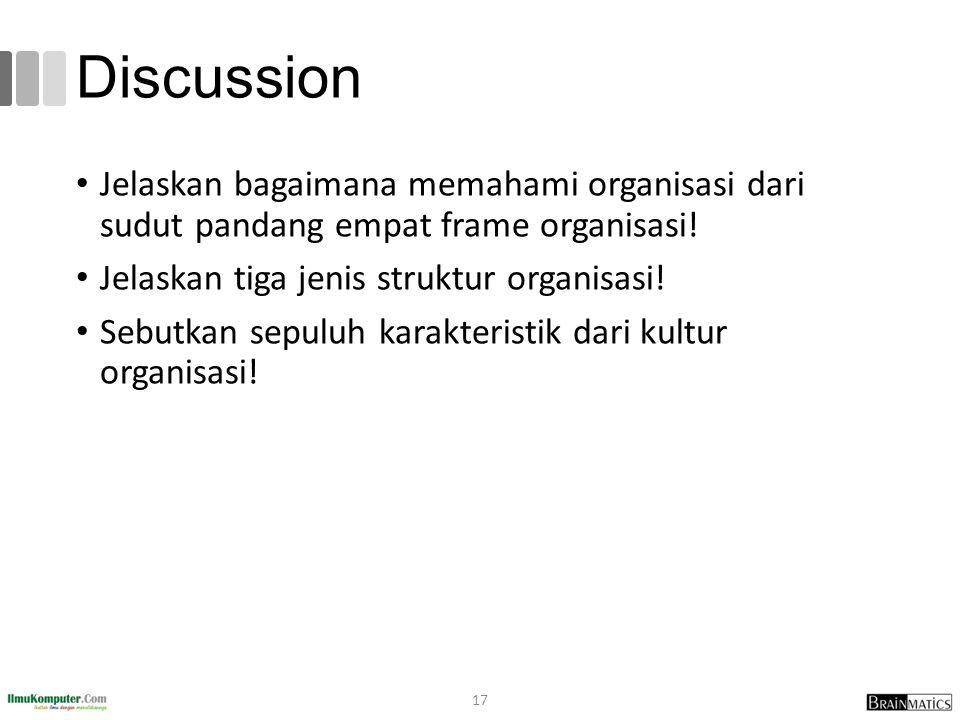 Discussion Jelaskan bagaimana memahami organisasi dari sudut pandang empat frame organisasi! Jelaskan tiga jenis struktur organisasi! Sebutkan sepuluh