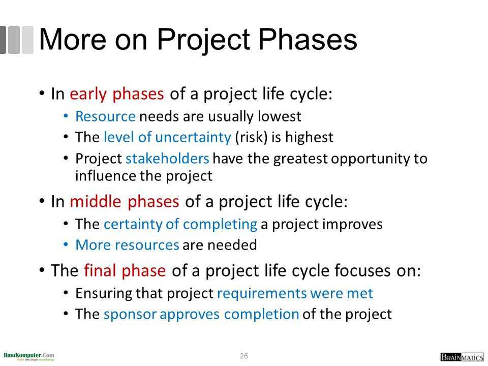More on Project Phases In early phases of a project life cycle: Resource needs are usually lowest The level of uncertainty (risk) is highest Project s